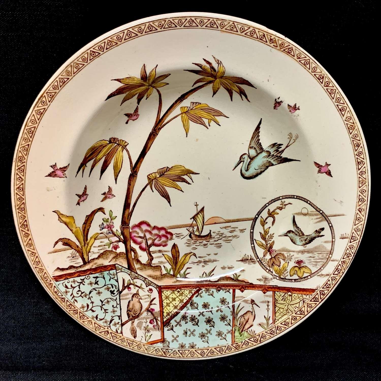 BrownPolychrome Transferware Victorian Cream Soup Plate ~ TONQUIN 1883