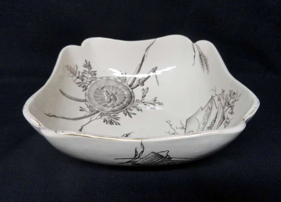 Antique English Transferware Centerpiece Fruit Bowl ~ ORIENTAL 1882