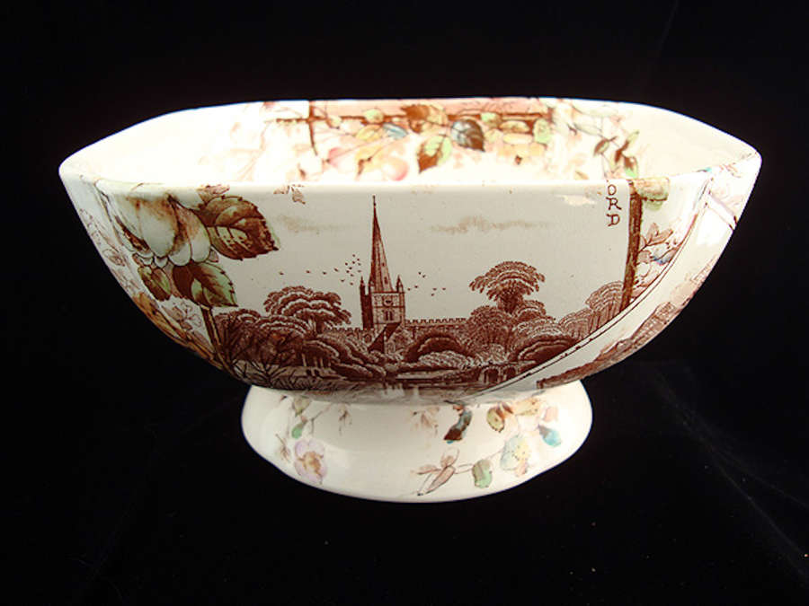 BrownTransferware English Views Fruit Bowl ~  1883