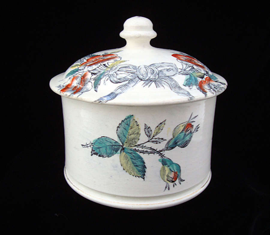 Antique English Love The Giver Tobacco Jar 1850