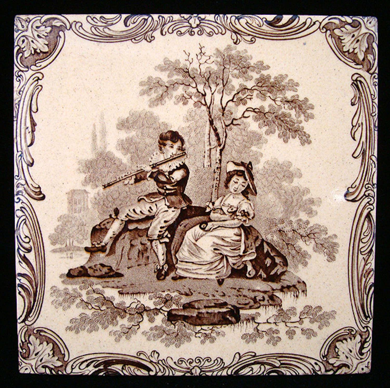 Minton Classical Watteau Flute Player Tile ~ 1880