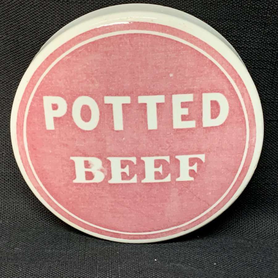 1885 ~ Rare Red Victorian Potted Beef Meat Pot Lid