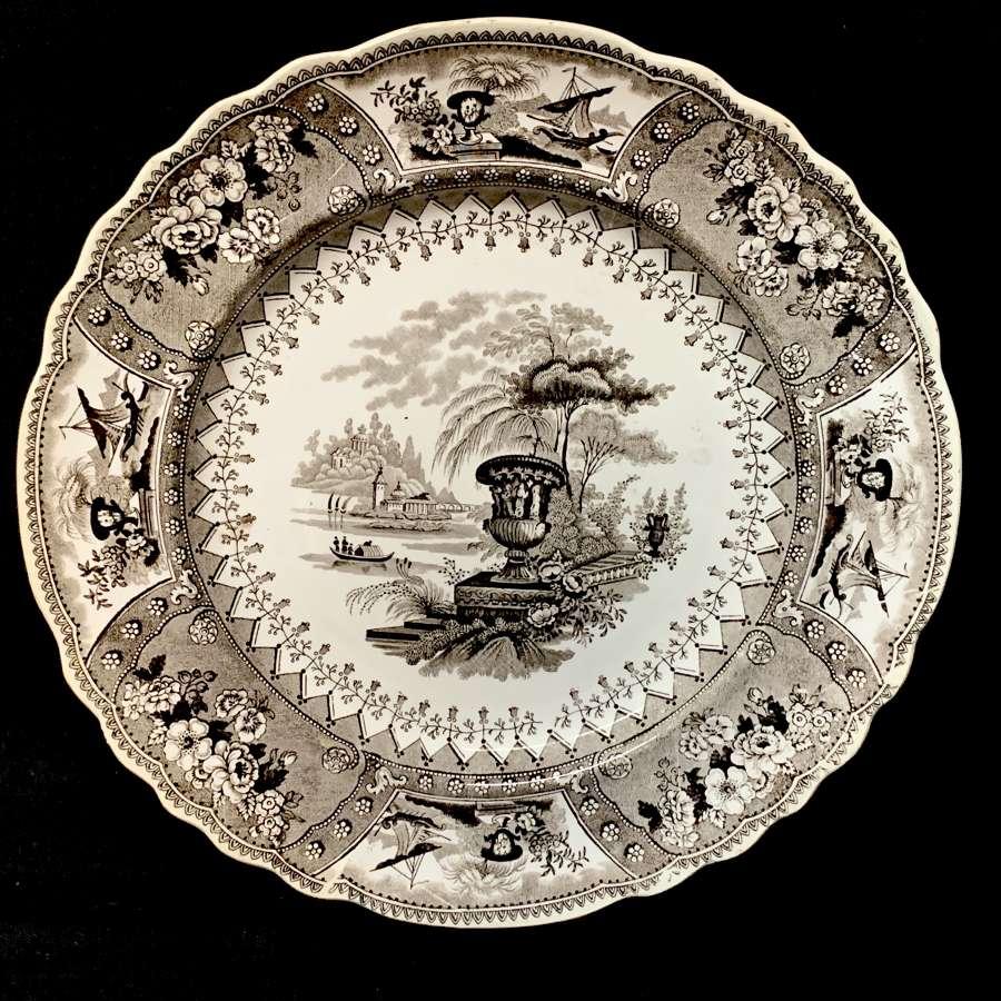 1840 ~ Brown Staffordshire Large Transferware Plate ~ CANOVA
