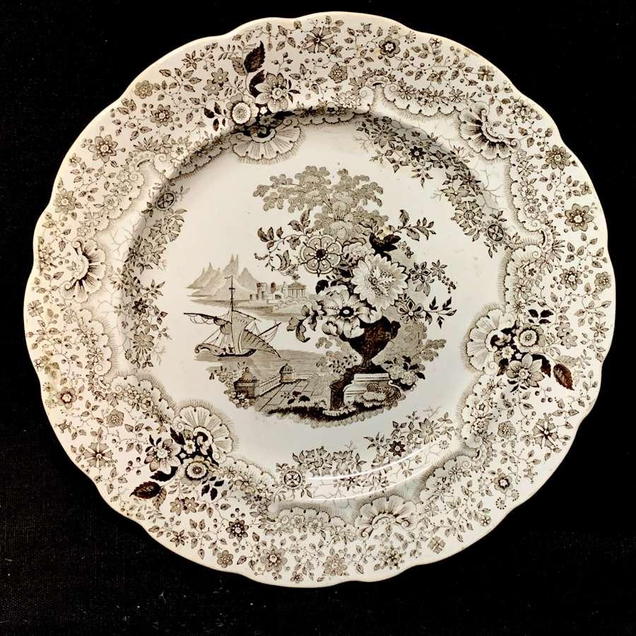 Superb Staffordshire Brown Transferware Plate ~ PERSIAN 1830