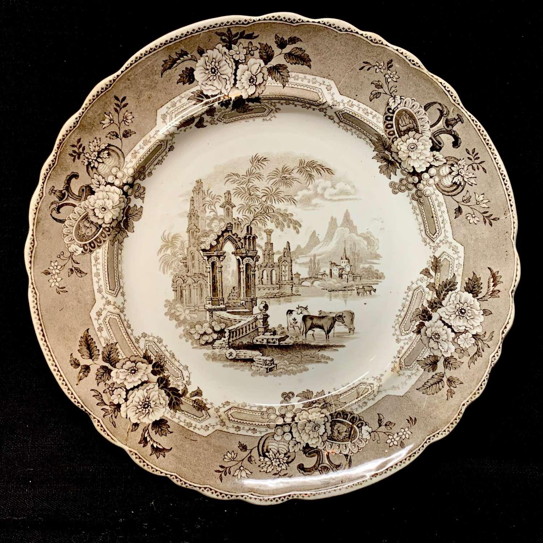 Brown Staffordshire Transferware Plate  ~ ABBEY RUINS 1830