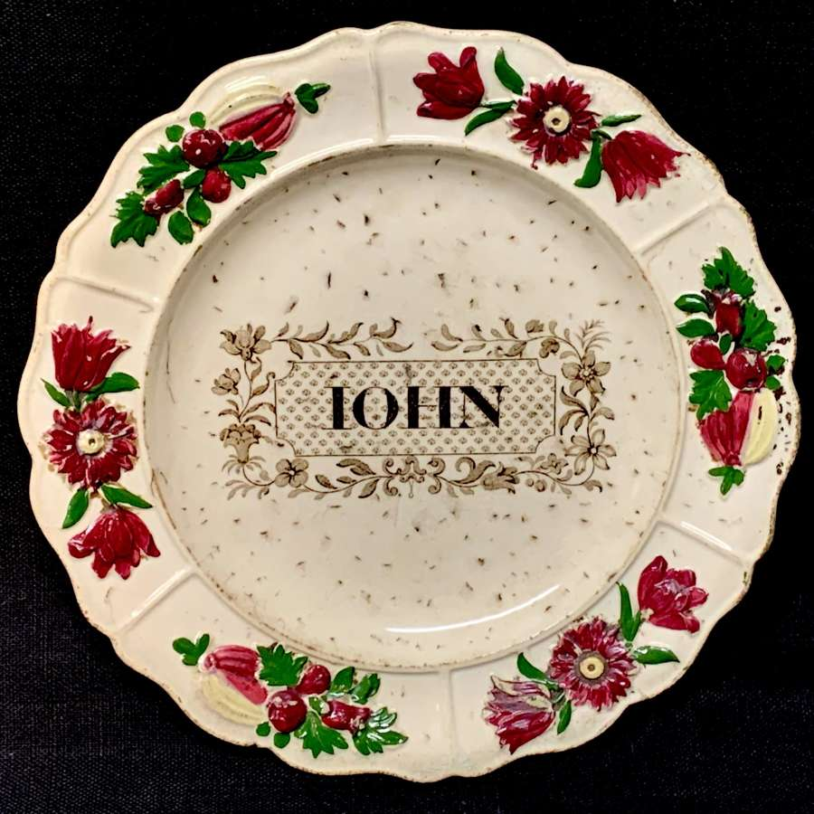 Staffordshire Childs Pearlware Name Plate for JOHN 1830