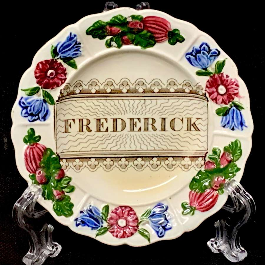 Staffordshire Childs Pearlware Name Plate for FREDERICK 1830