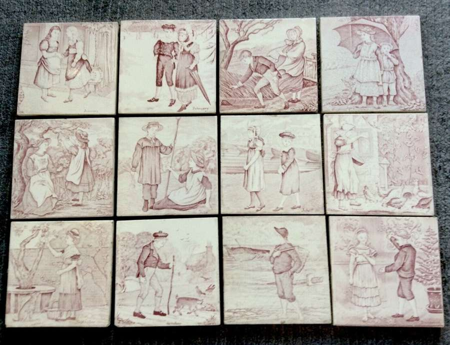 Complete Red/Pink Transfer Printed Wedgwood 12 Months Tiles ~ 1879