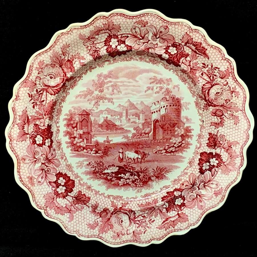 1840 ~ English Red Transferware Plate ~ CAMBRIAN