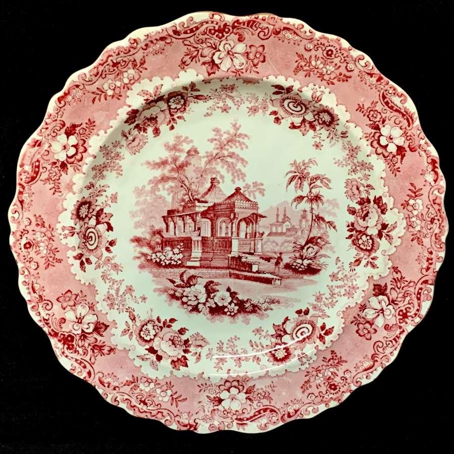 1840 ~ English Red Transferware Plate ~ ASIATIC SCENERY