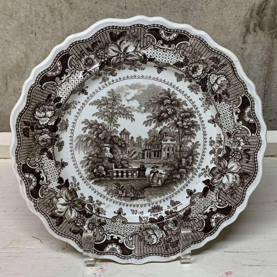 English Brown Staffordshire Plate ~ Parisian Chateau 1830