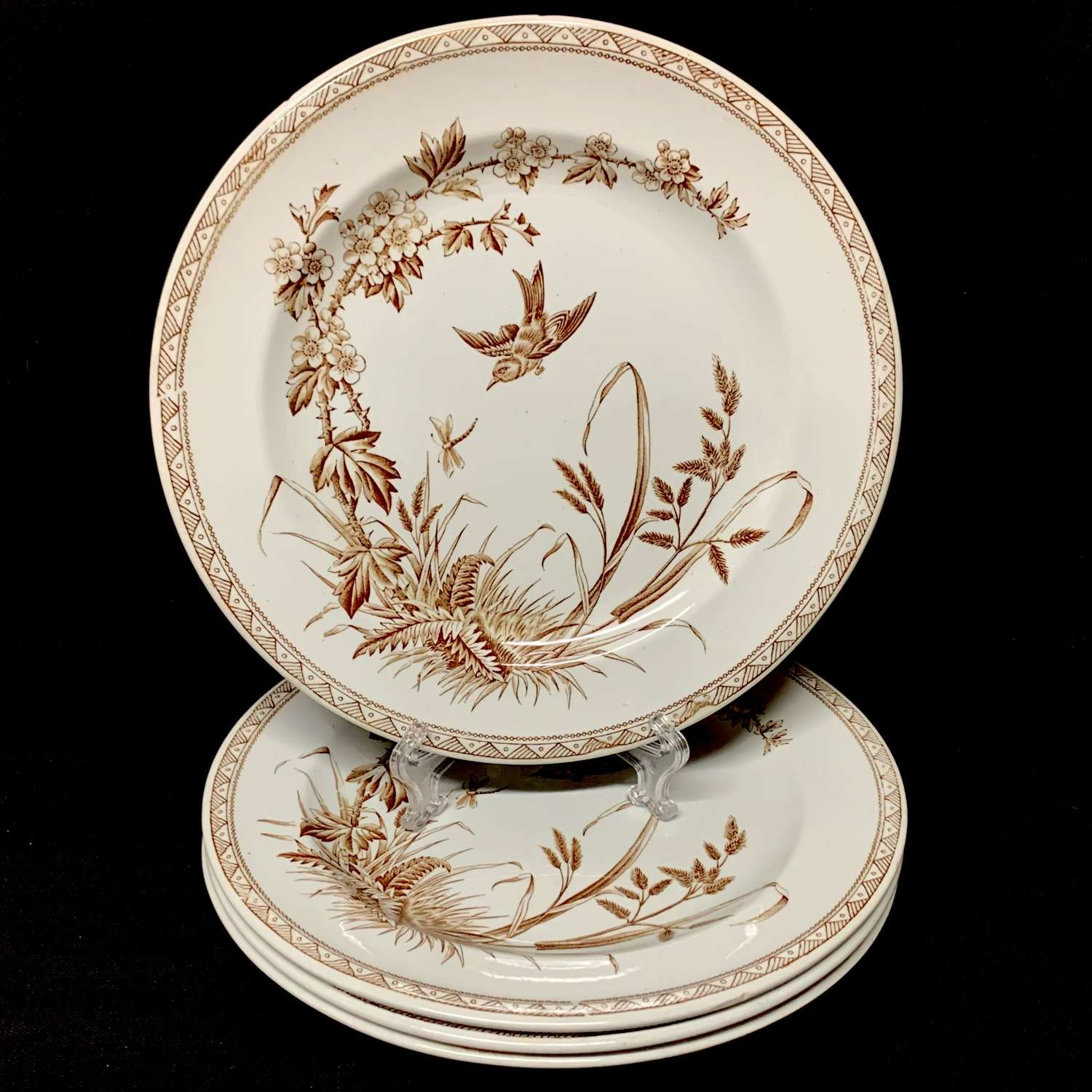 Four Brown Transferware Plates ~ Dragonfly 1877 Hawthorn