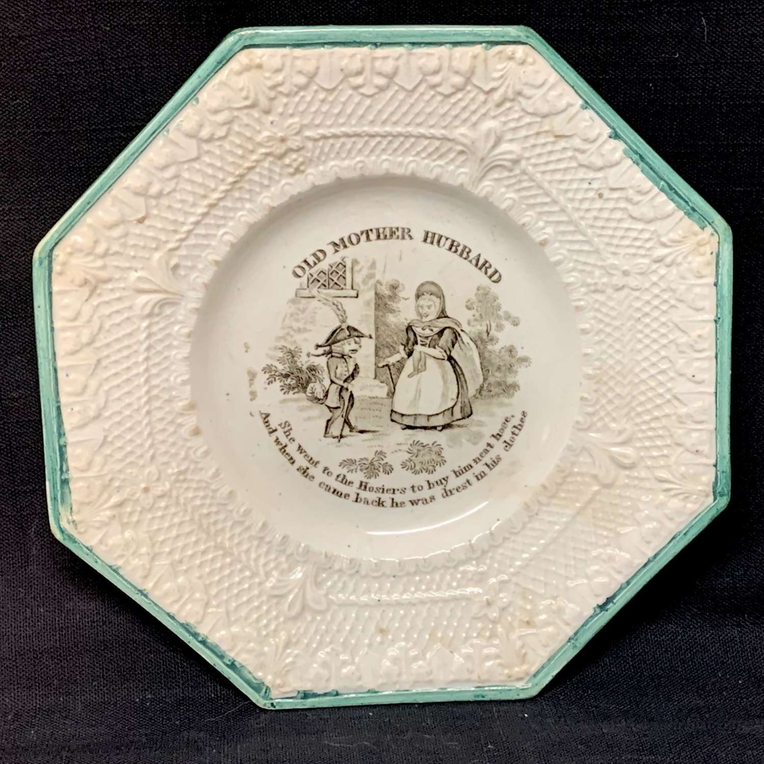 Scottish Childs Pearlware Plate 1830 ~ Old Mother Hubbard