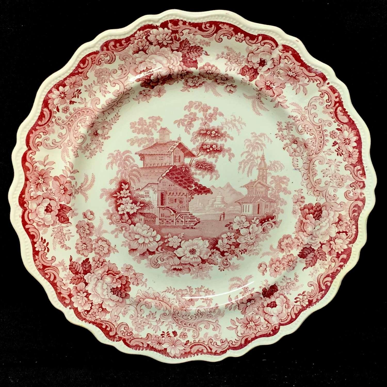 1840 ~ English Red Transferware Plate ~ SWISS  SCENERY
