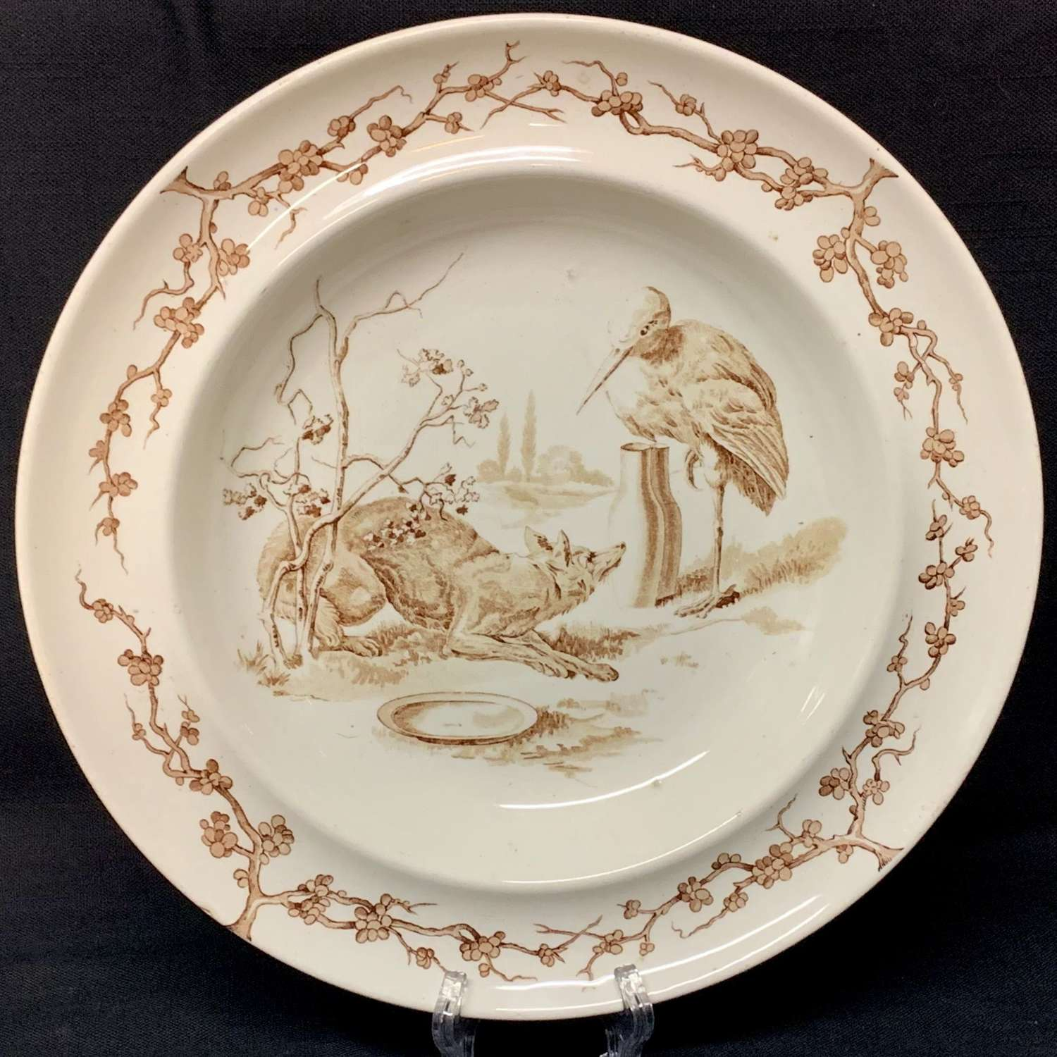 Brown Fontaine's Fables ~ Fox & Stork Cream Soup Plate 1880