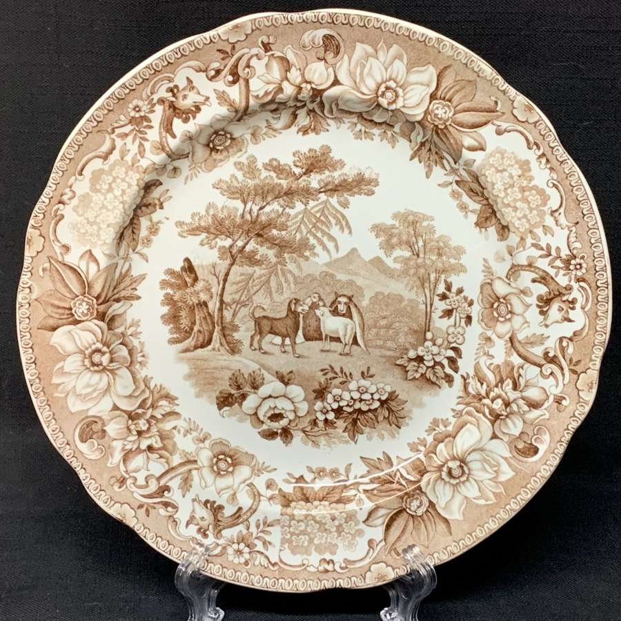 Transferware Plate Dog & Sheep & Wolf ~ Aesop's Fables 1835