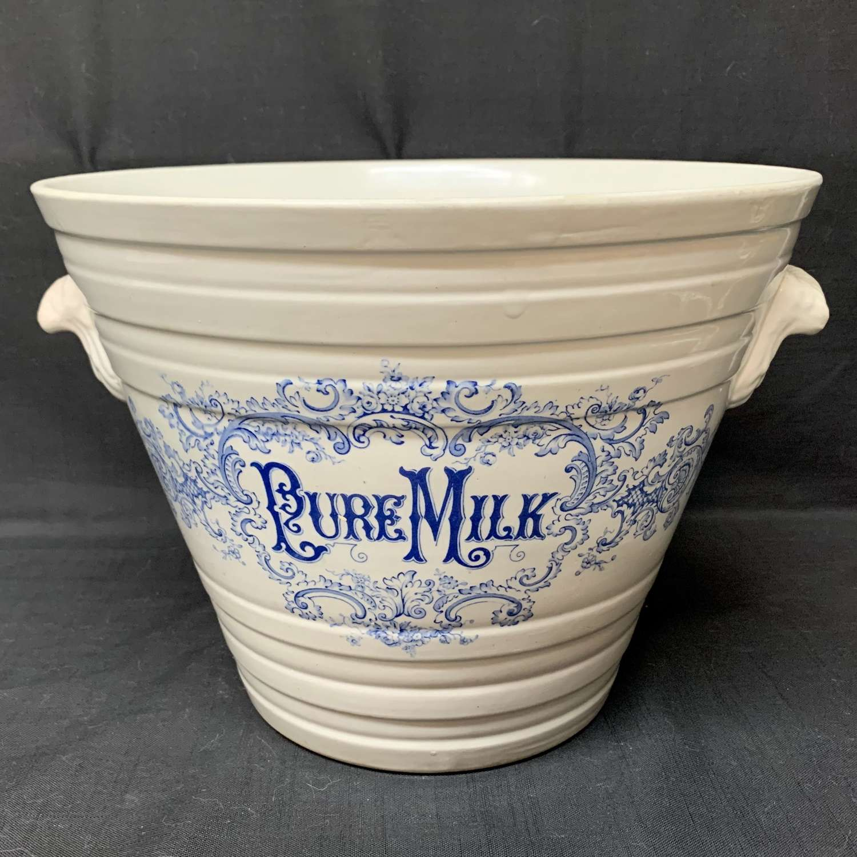 Blue English Victorian Ironstone Pure Milk Pail ~ c 1885