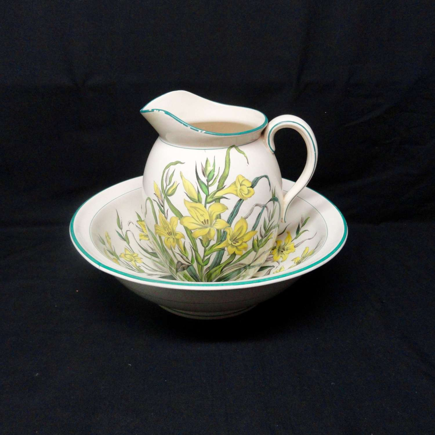 ANTIQUE hand Painted Basin & Jug ~ LILLIES 1870