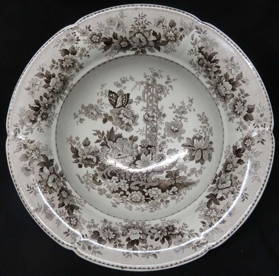 Romantic Staffordshire Transferware Wash Bowl ~ Tuscan Rose ~ 1830