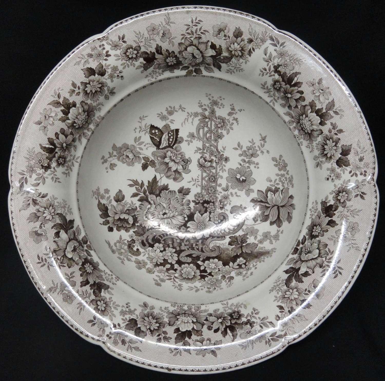 Romantic Staffordshire Transferware Wash Bowl ~ Tuscan Rose ~ 1830
