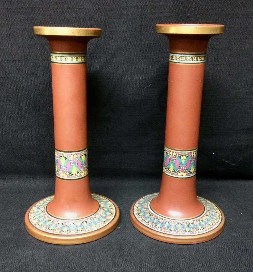 1860 ~ Prattware F and R Pratt & Co Half Circles Candlesticks Pair