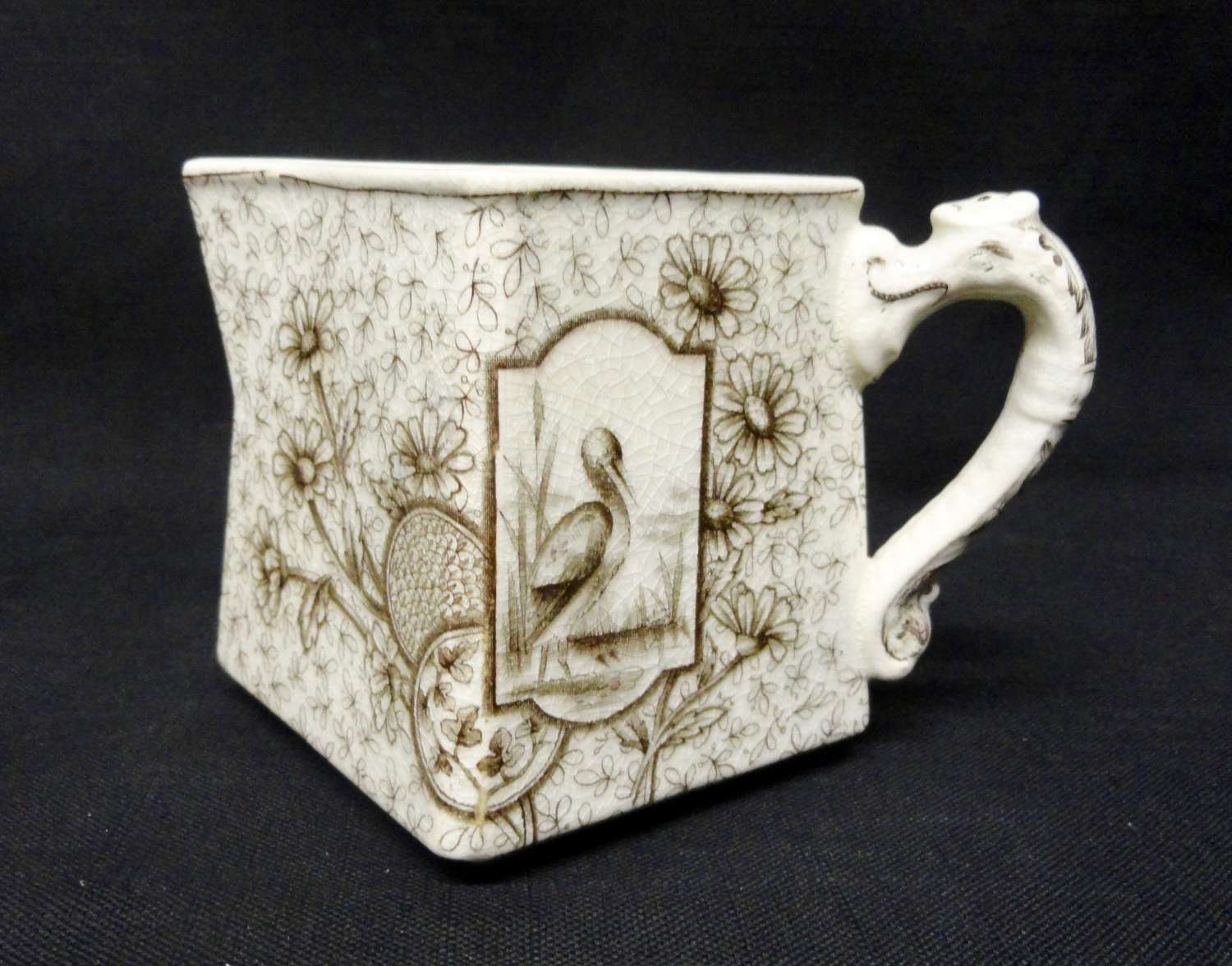 Brown Aesthetic Transferware Cream Pitcher ~ DEVONSHIRE 1884