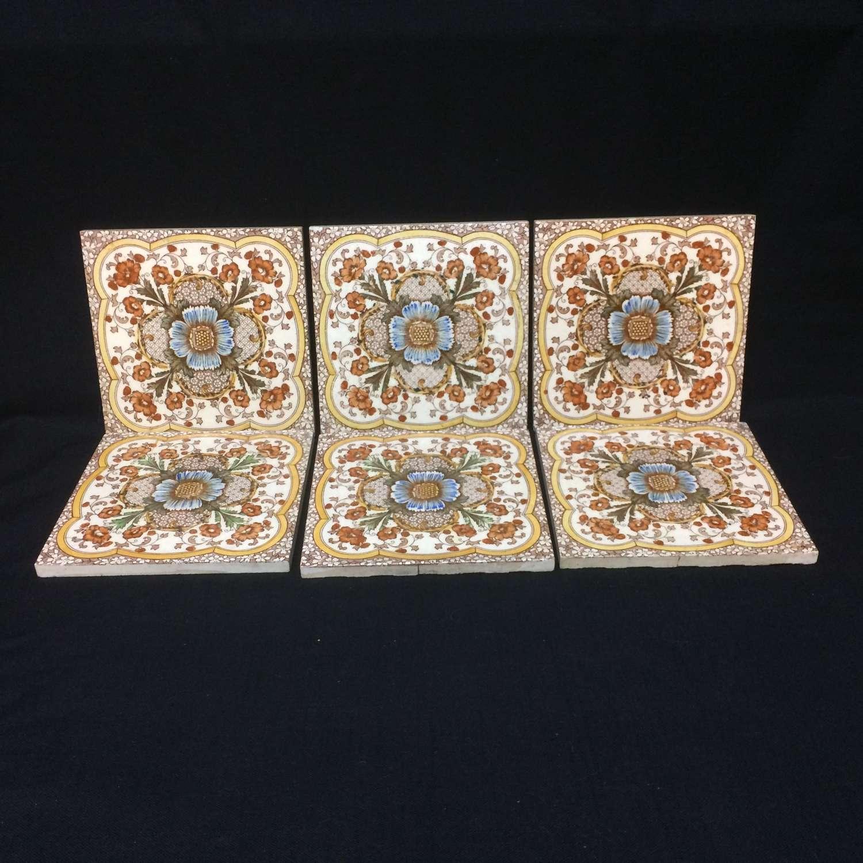 SIX ~ Polychrome Tiles ~ Cosmos & Trumpet Jasmine Flowers ~ 1885