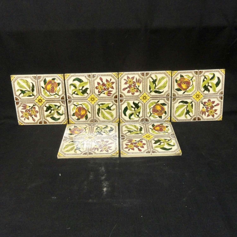 SIX English Brown Transferware Tiles ~ POMEGRANATES 1885