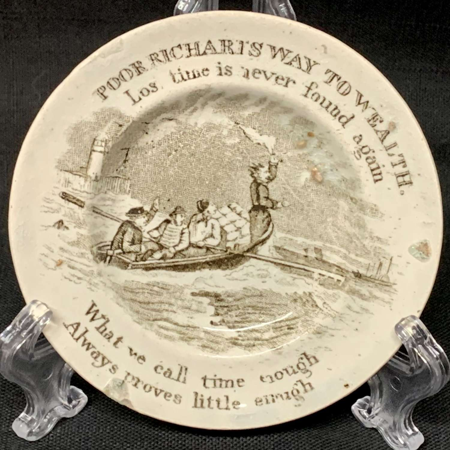 1840 Staffordshire Childs Cup Plate ~ Franklins Lost Time