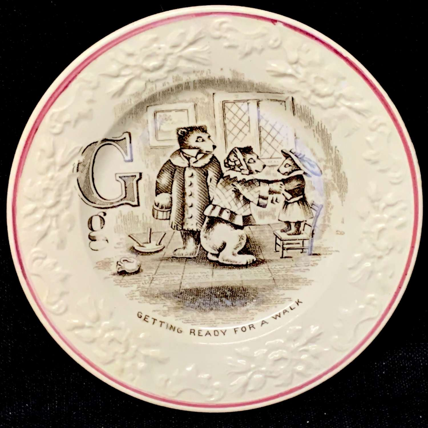 Pearlware ABC Alphabet G Plate ~ The Three Bears 1840