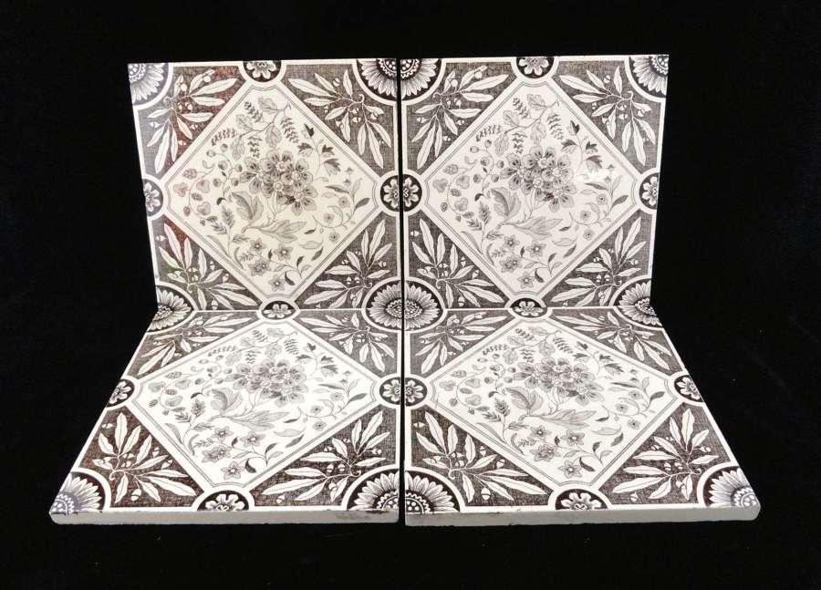 FOUR Rich Brown Transferware Tiles ~ 1885
