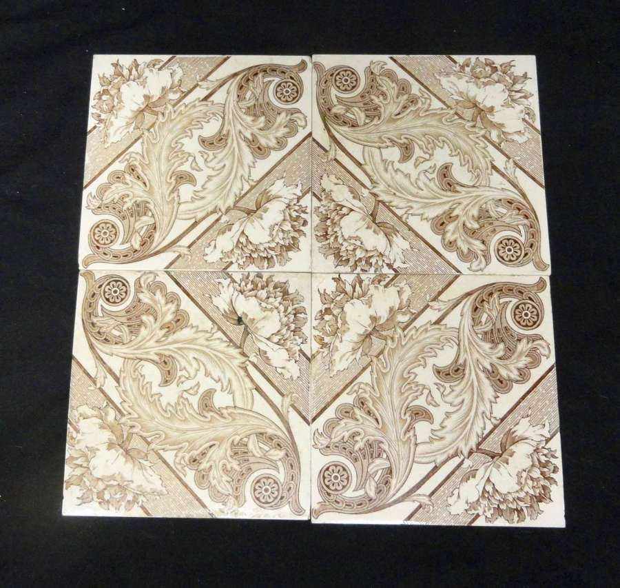 Brown Transferware Tiles x 4 ~ Florals Classical 1885