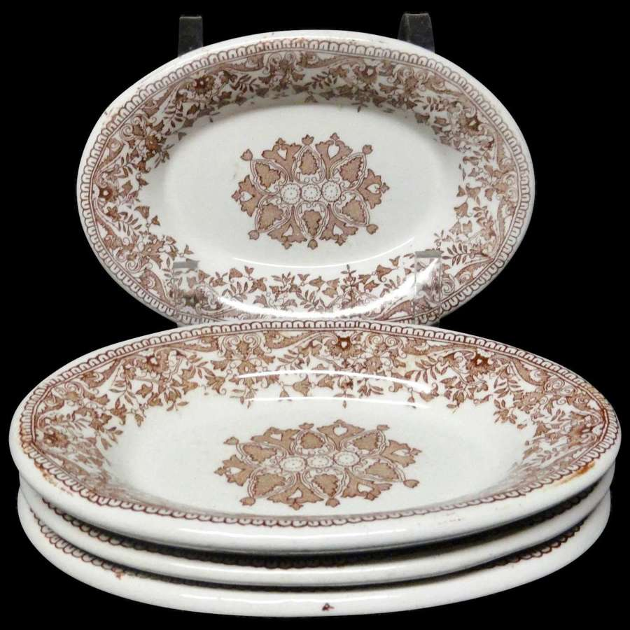 4 Brown Transfer Printed Ironstone Serving Trays ~ TOURNAY 1890