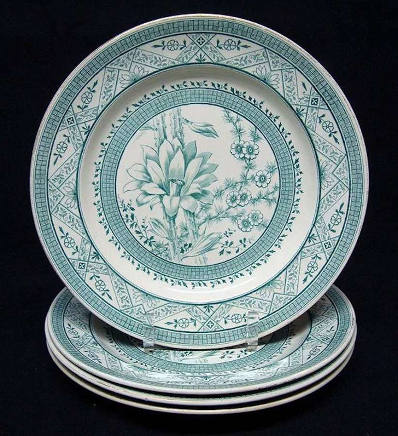 4 English Aesthetic Movement ORCHID Plates ~ Kew Gardens 1883