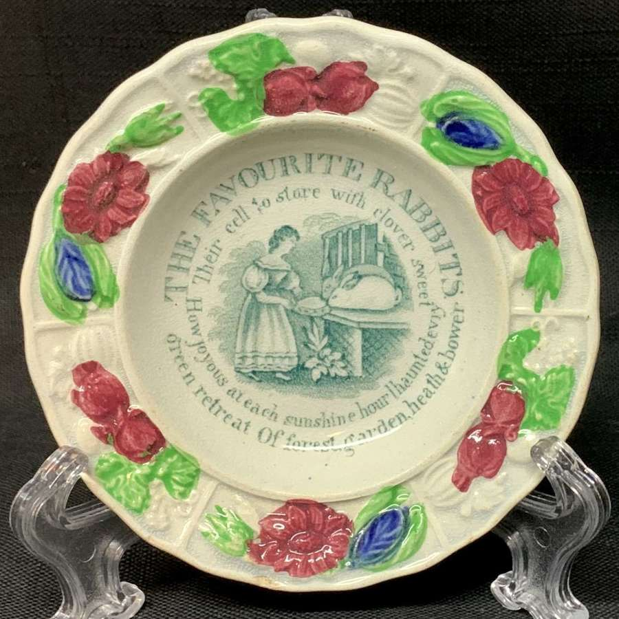 1840 Child's Pearlware Plate ~ My Favorite RABBITS