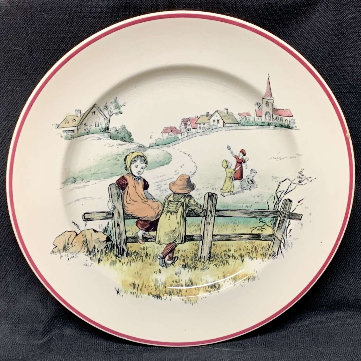 Kate Greenaway Pastime Brownfield Plate ~ 1883