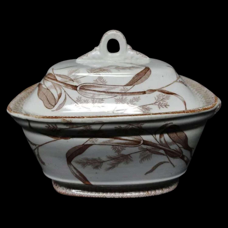 Brown Transfer Printed Biscuit Jar ~ SUMMERTIME ~ 1890
