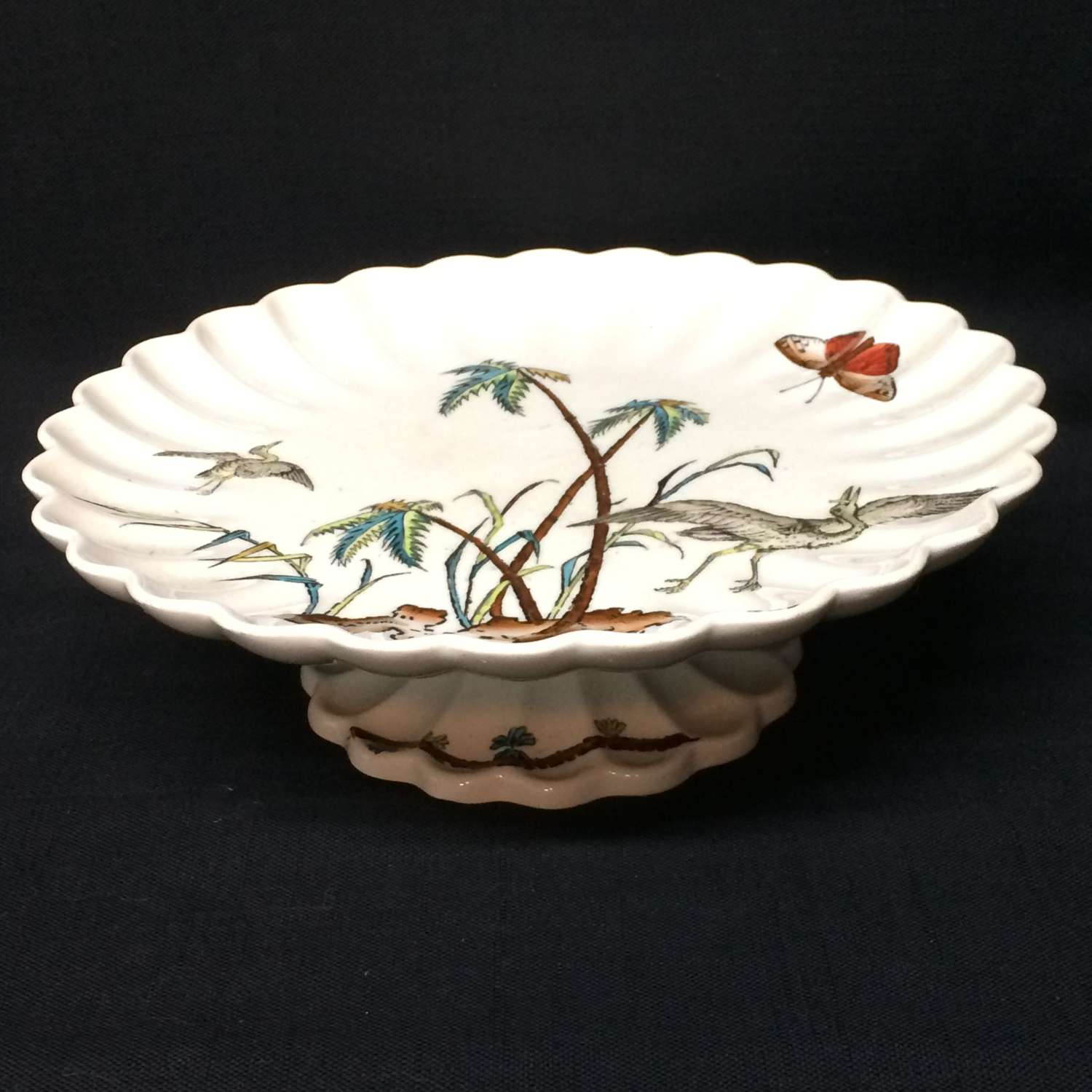 Fluted English Cake Cheese Tazza Comport ~ Copeland Egrets 1878