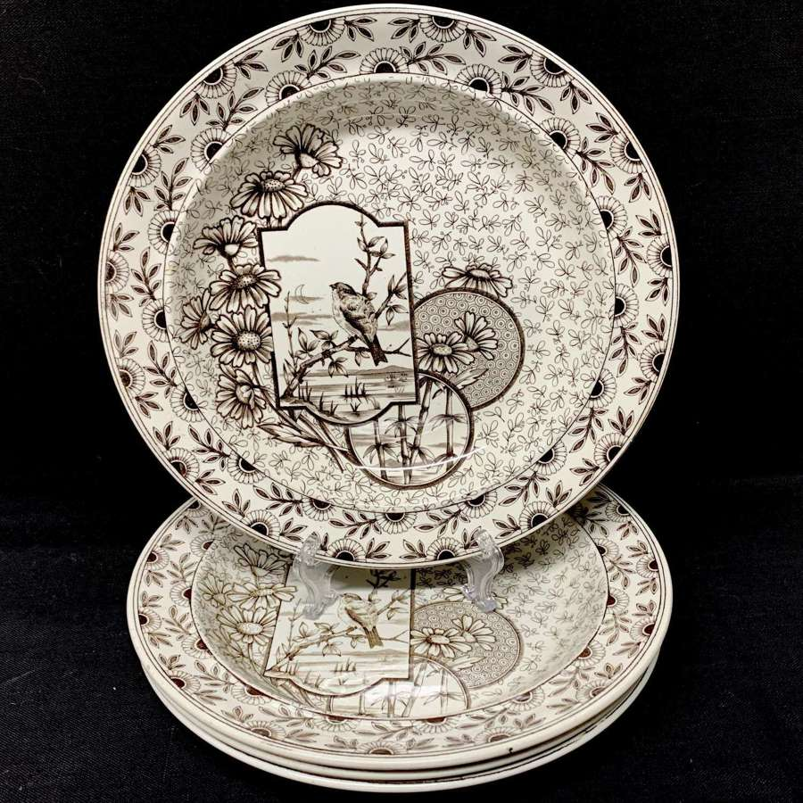 4 Antique Victorian Brown Transferware Soup Plates ~ DEVONSHIRE 1885
