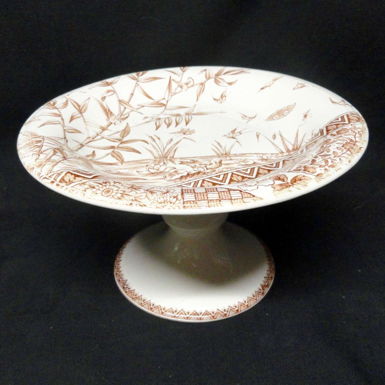 Brown Transferware Cake Tazza Plate ~ BURMAH 1883