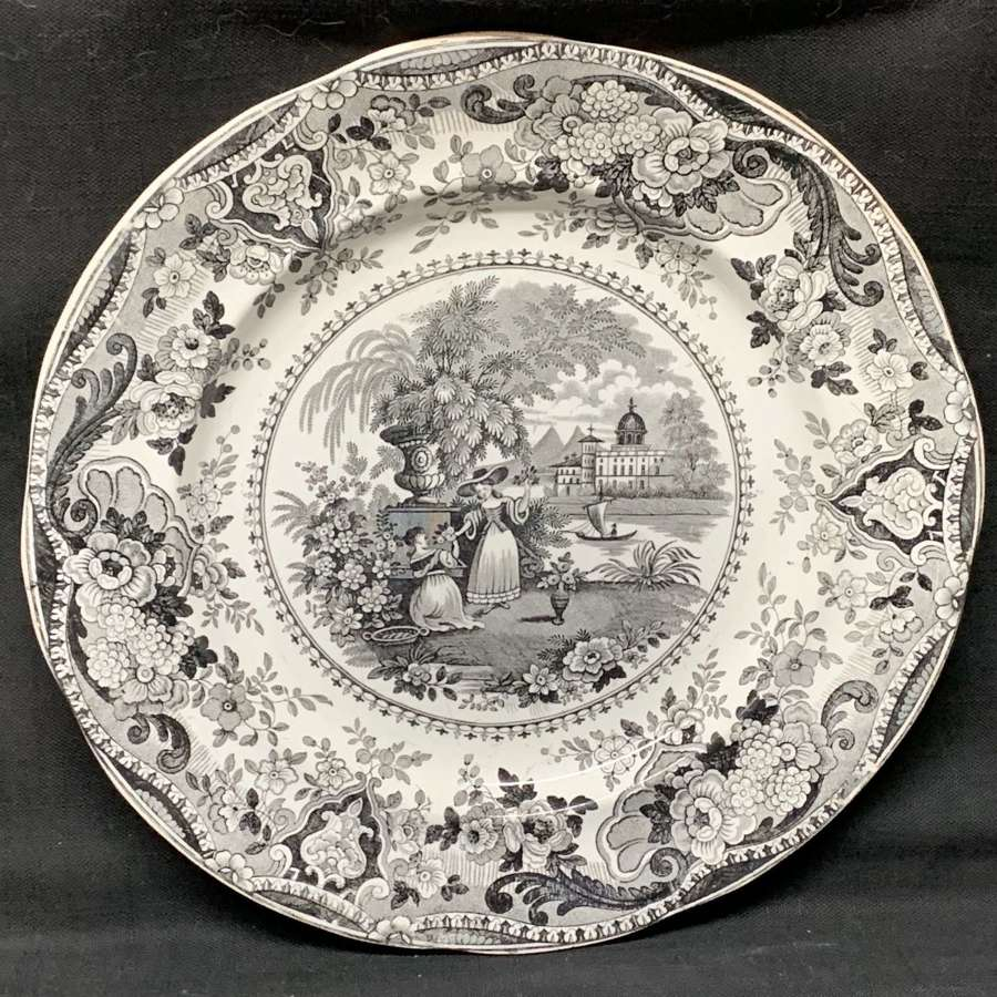 Outstanding Black Staffordshire Plate ~ Italian Buildings 1830