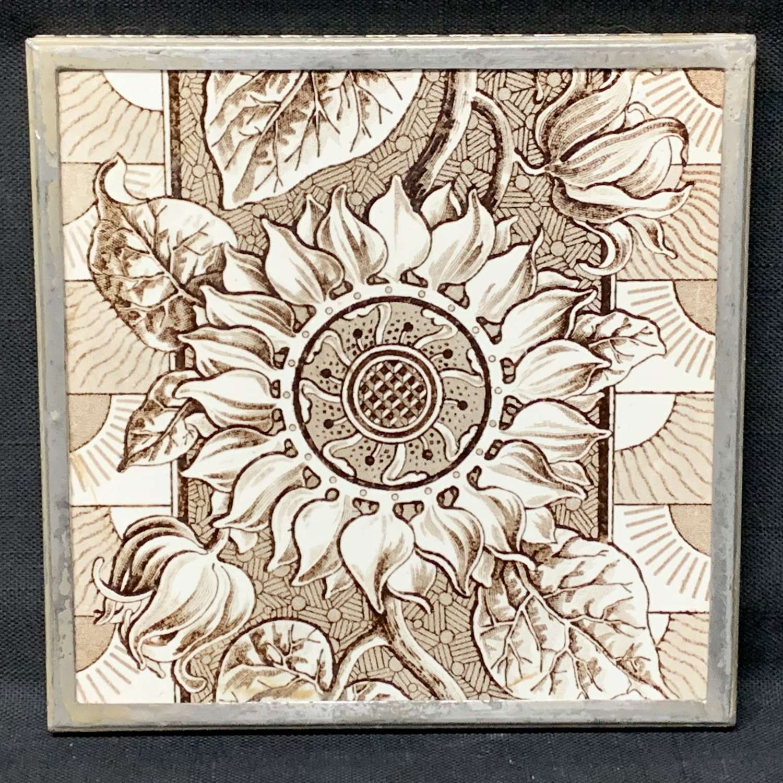 Superb Brown Transferware Tile ~ SUNFLOWER 1885