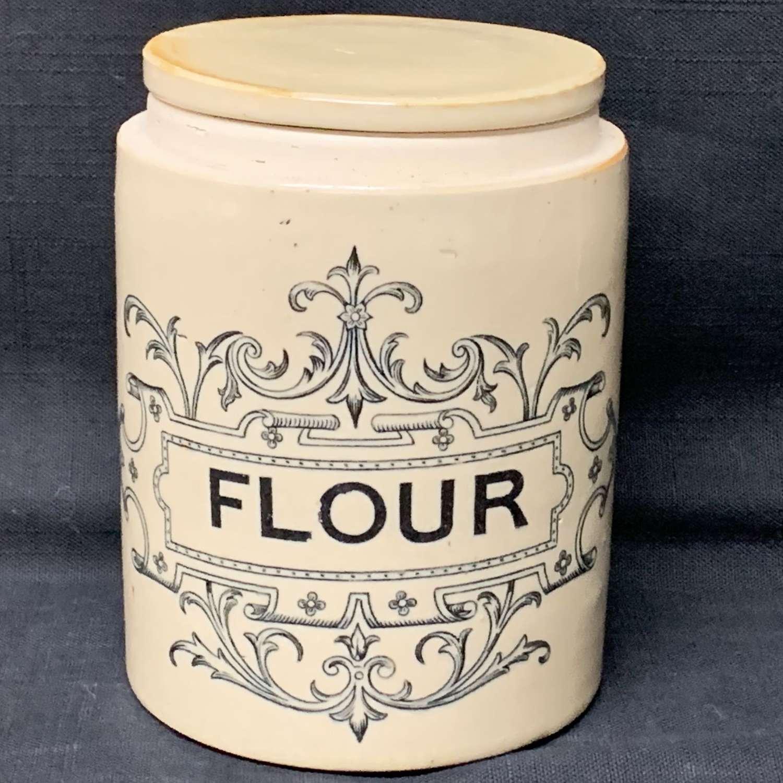 Edwardian Stoneware Storage Jar with Lid ~ FLOUR ~ c 1890