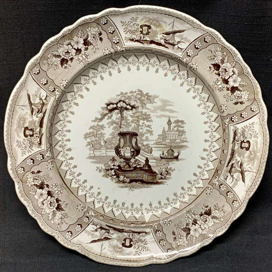 1840 ~ Brown Staffordshire Large Transferware Plate ~ CANOVA