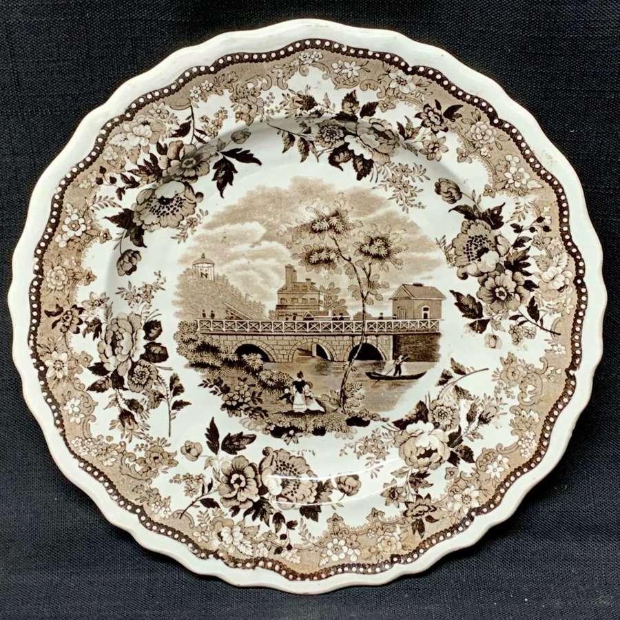 Staffordshire American Historical Race Bridge Philadelphia Plate 1835