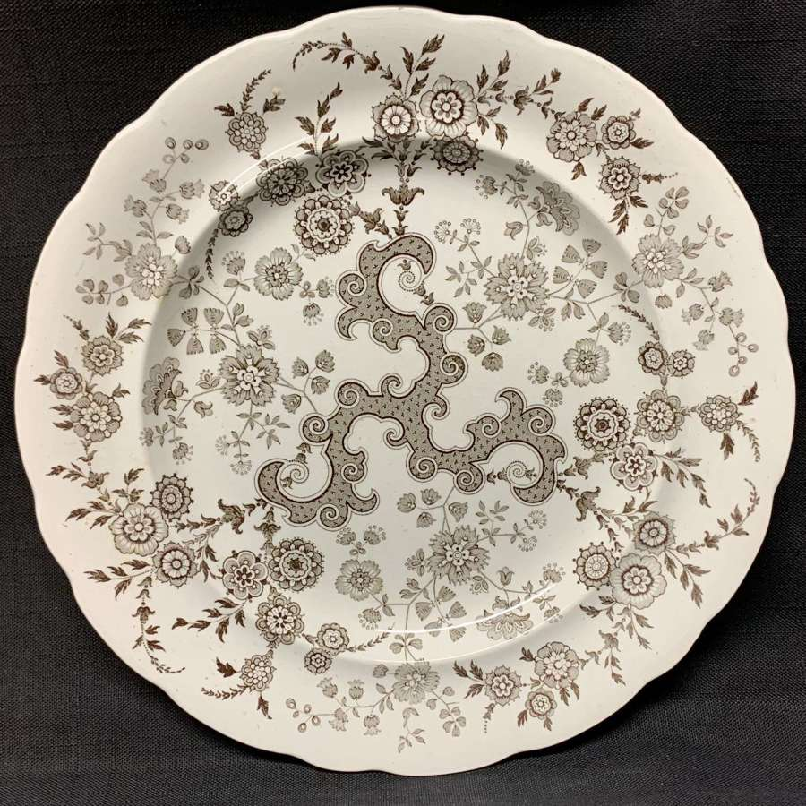 Brown Transferware Staffordshire Plate ~  FLOSCULOUS 1835