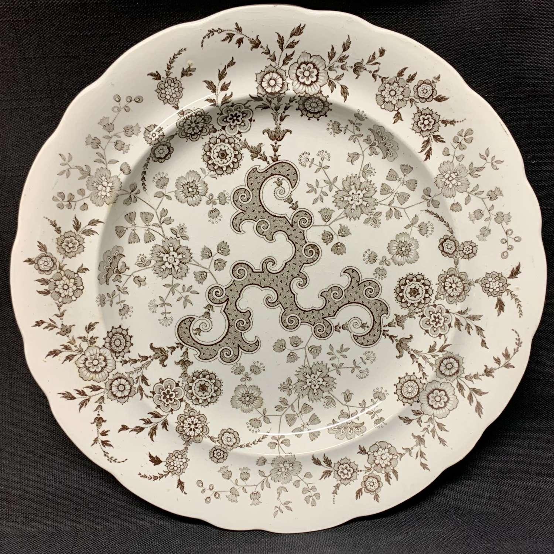 Brown Transferware Staffordshire Plate ~  FLOSCULOUS 1835