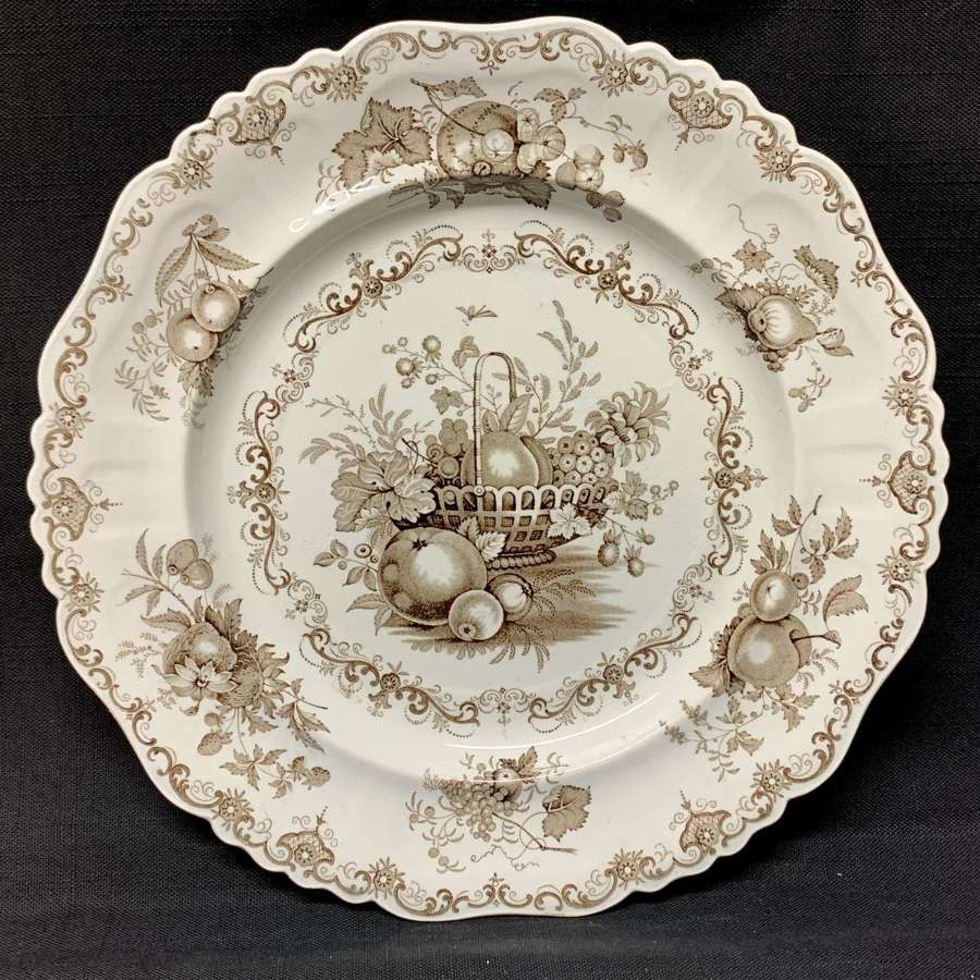 Staffordshire Brown Transferware Plate ~ FRUIT BASKET 1840