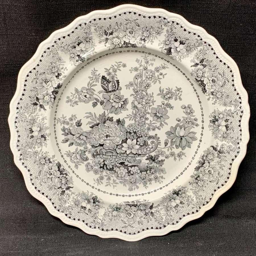 Black Staffordshire Transferware Plate ~ Tuscan Rose 1830