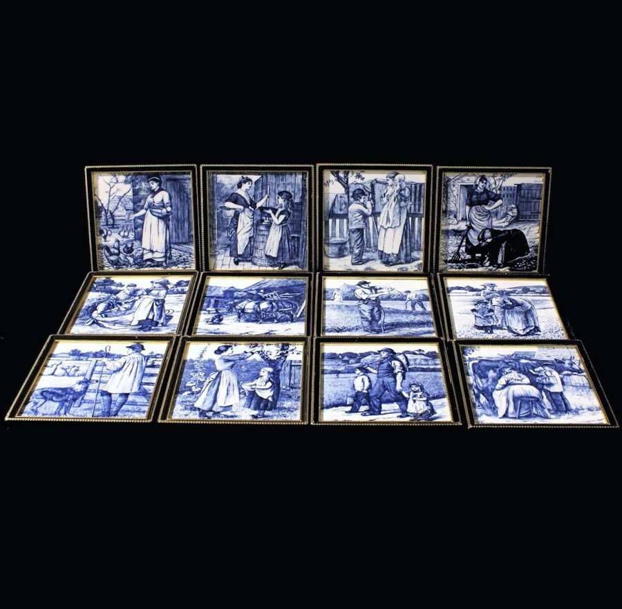 Set of 12 William Wise Country Life Tiles ~ 1879